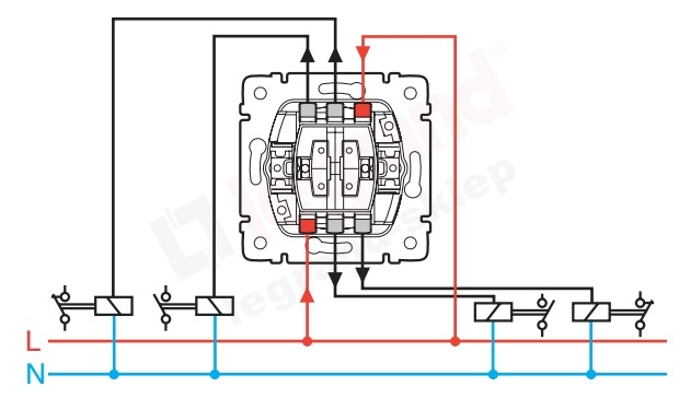 Схема подключения двухклавишного выключателя ютуб